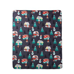 Morgan Home Christmas Campground Printed Fleece Throw