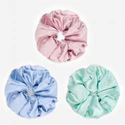 3 Pack Flower Silk Hair Scrunchies