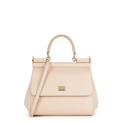 DOLCE & GABBANA Sicily small pink leather top handle bag