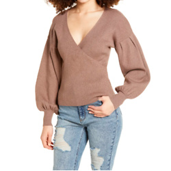 ALL IN FAVOR Rib Bishop Sleeve Surplice Ribbed Sweater