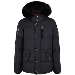 MOOSE KNUCKLES 3Q navy fur-trimmed cotton-blend coat