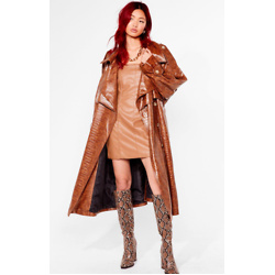 Croc Our World Faux Leather Belted Trench Coat