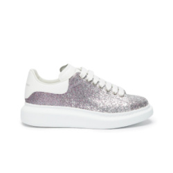 ALEXANDER MCQUEEN GLITTER WITH LEATHER COLLAR SNEAKERS