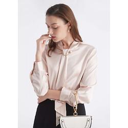 珍珠扣飘带领衬衫