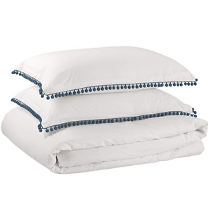 Amazon Brand – Rivet Pom-Pom Duvet Comforter Cover Set