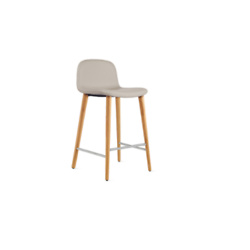 Design Within Reach Soft Leather Bacco Counter Stool - Oak/Dove Gray