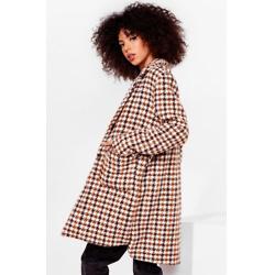 Pocket About 'Em Houndstooth Longline Coat