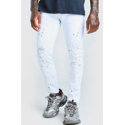 SKINNY RIPPED KNEE PAINT SPLAT JEAN WITH ZIP