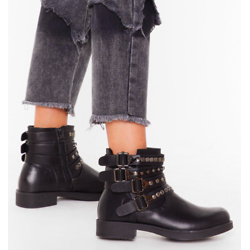 Like I Give a Buck-le Faux Leather Ankle Boots