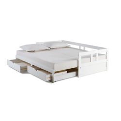 Melody Expandable Twin to King Trundle Daybed with Storage Drawers - White