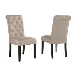 Leviton Solid Wood Tufted Parsons Dining Chair (Set of 2) - Tan
