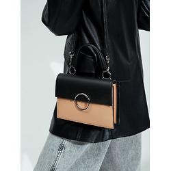 Two-Tone Ring Detail Top Handle Bag