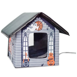K&H Pet Products Haunted Halloween Outdoor Heated Cat House