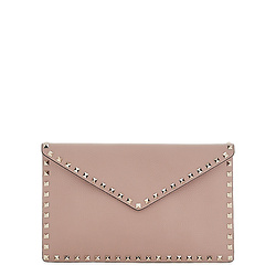 VALENTINO Garavani Rockstud taupe leather clutch