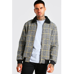 CHECK BORG COLLAR UNLINED BOMBER JACKET