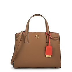 TORY BURCH Walker small brown leather top handle bag