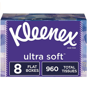 Kleenex Ultra Soft Facial Tissues, 8 Rectangular Boxes