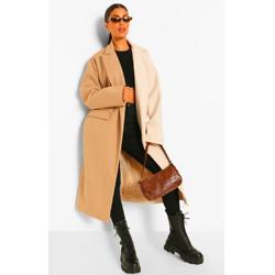 Contrast Colourblock Wool Look Coat