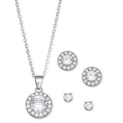 Cubic Zirconia 3-Pc. Set Pendant Necklace & Stud Earrings in Sterling Silver