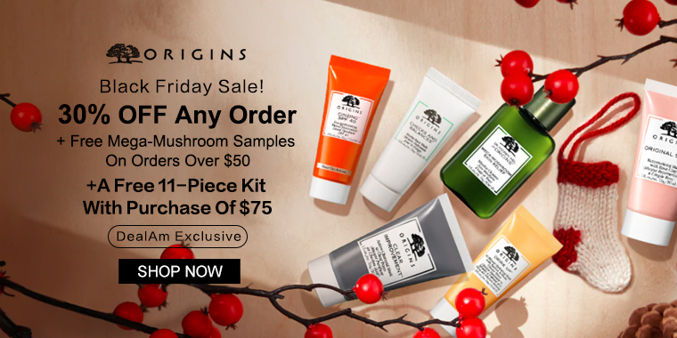 Origins: 30% OFF Any Order + A Free 11-Piece Kit With Purchase Of $75 (DealAm Exclusive)