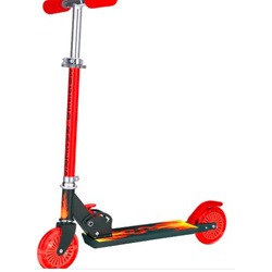 红色两轮脚踏滑板车