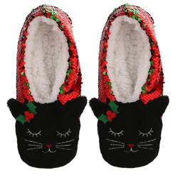 Womens Capelli New York Cat Reversible Sequin Slipper Socks