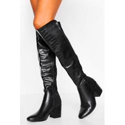 Croc Block Heel Knee High Boots