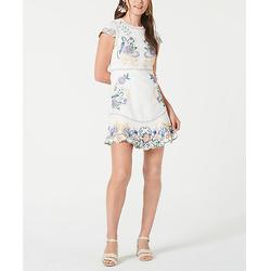Foxiedox女士绣花比目鱼下摆紧身连衣裙-白色