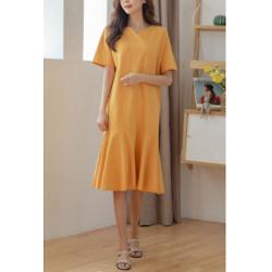 Ans Hem Ruffle Vent Neck Easy Dress