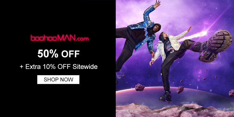 boohooMAN: 50% OFF + Extra 10% OFF Sitewide