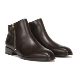 棕色皮质踝靴