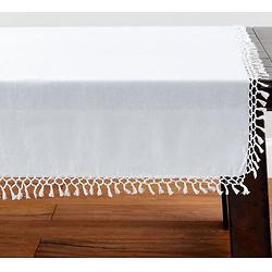比利时亚麻流苏打结桌子-白色