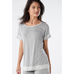 Short-Sleeve Modal Top with Lace Detail