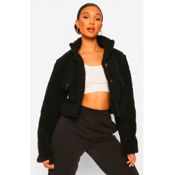 Tall Pocket Front Cropped Teddy Jacket