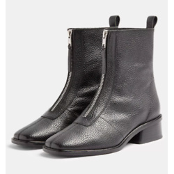 AMSTERDAM Black Zip Leather Boots