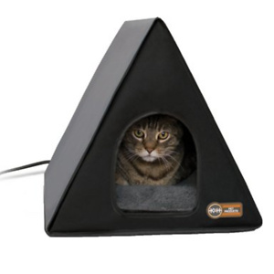 K&H Pet Products Heated A-Frame Cat House, Gray/Black By K&H Pet Products