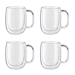 4-PC DOUBLE-WALL GLASS COFFEE MUG SET