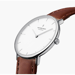 Native | White Dial - Brown Leather