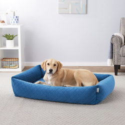 Frisco Velvet Rectangular Bolster Cat & Dog Bed
