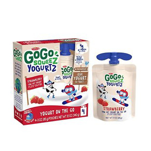 GoGo squeeZ yogurtZ, Strawberry, 3 Ounce (4 Pouches)