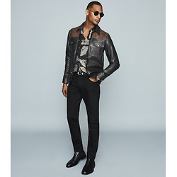 LEATHER JACKET WITH SNAKE-EFFECT DETAIL