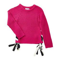 女生紫红色蕾丝边毛衣