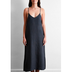 100% French Flax Linen Midi Dress in Charcoal