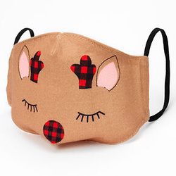 Cotton Holiday Reindeer Face Masks - Child Medium/Large