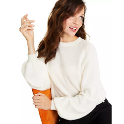 Cashmere Brushed Balloon-Sleeve Sweater