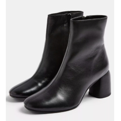 BOMBAY Black Leather Heeled Boots
