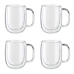 4-PC DOUBLE-WALL GLASS COFFEE MUG SET