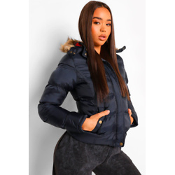 Short Hooded Faux Fur Trim Puffer Jacket