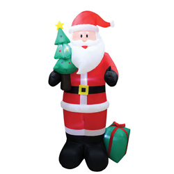 Inflatable LED 8ft. Santa with Tree and Gift