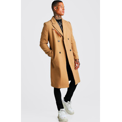 LONGLINE OVERCOAT WITH LEATHER LOOK FASTENING